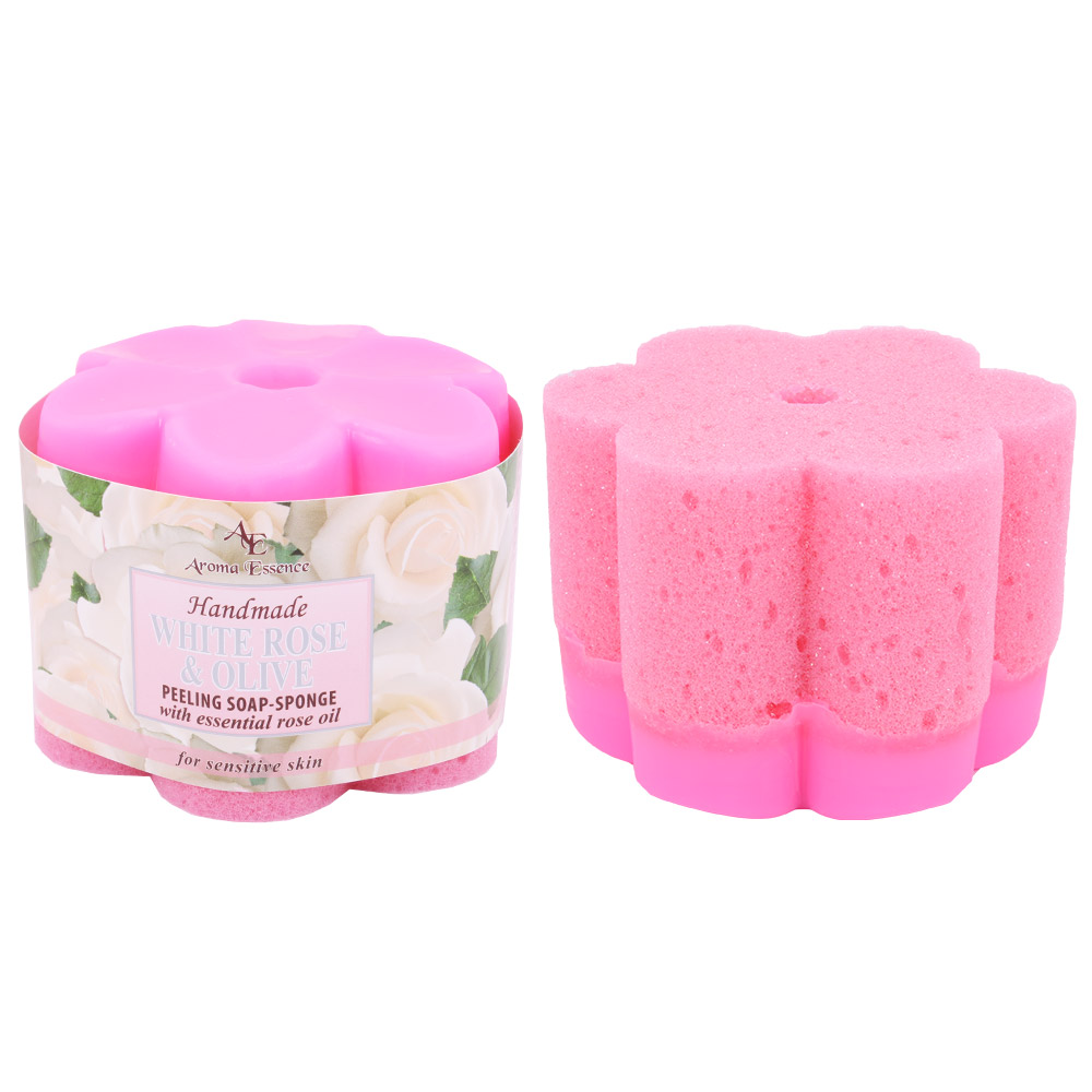 "Peeling soap – sponge ""Rose"" – white, 70g."