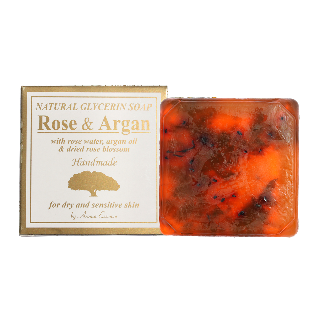 "Natural Glycerine soap ""Rose & Argan"" rose water, argan oil & dried rose blossom 60 g."