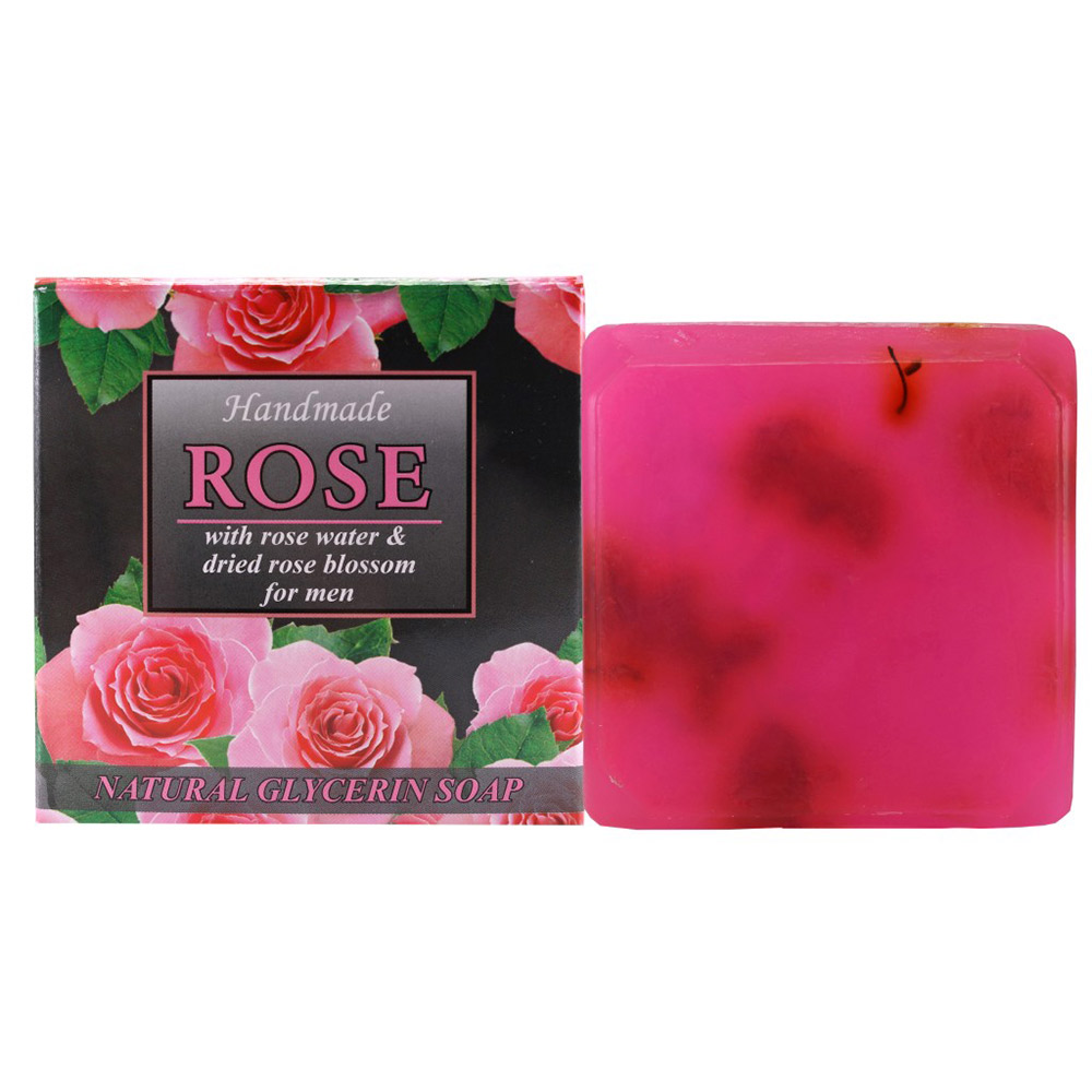 "Natural Glycerine soap  ""Rose"" – for men with rose water & dried rose blossom 60 g."