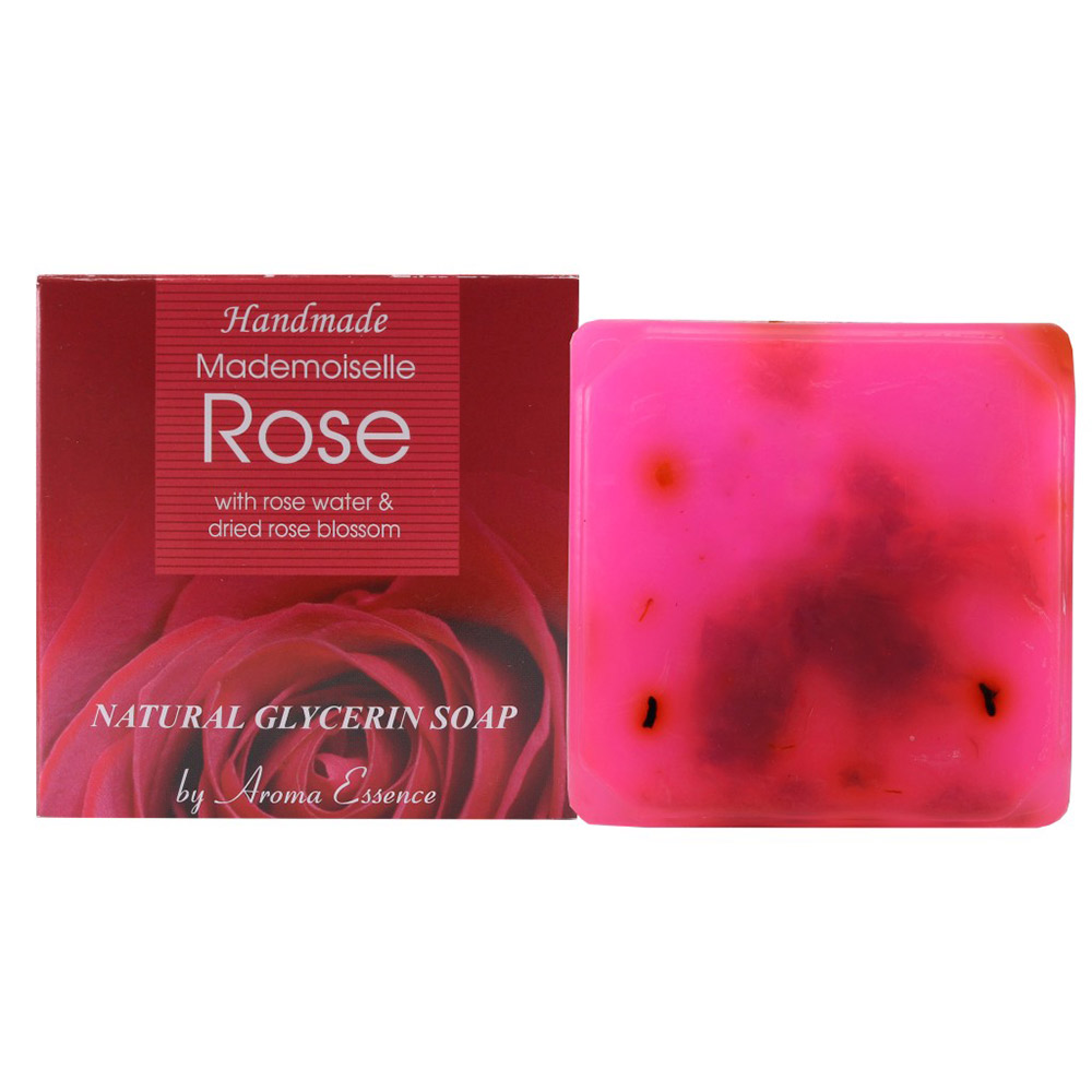 "Natural Glycerine soap ""Mademoiselle Rose"" rose water & dried rose blossom 60 g."