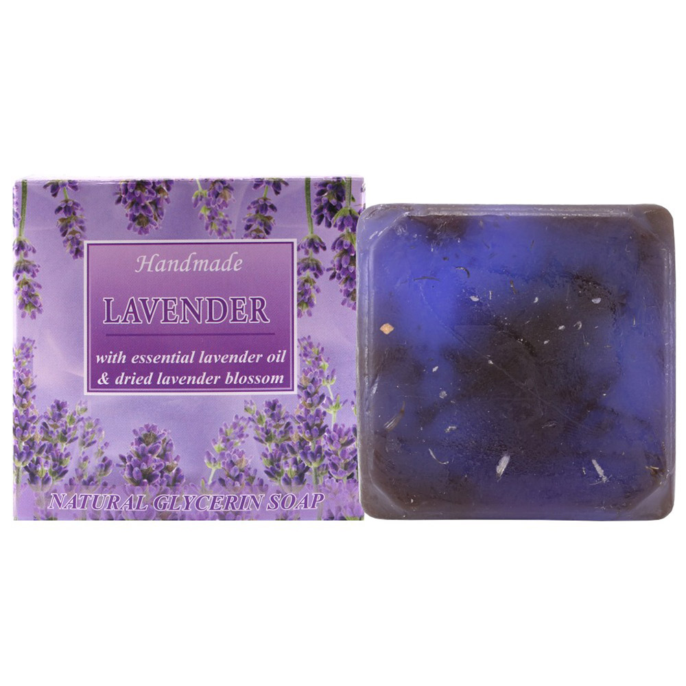 "Natural Glycerine soap ""Lavender""  lavender oil & dried lavender blossom 60 g."